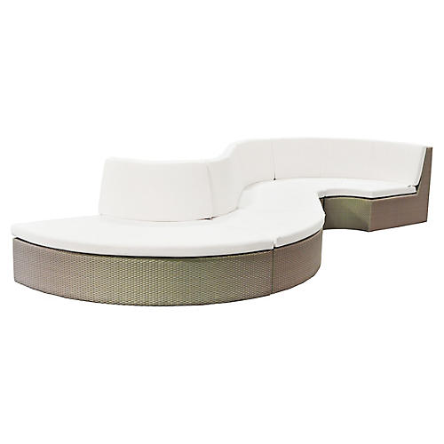 Asst. of 5 Closed Curve Sectional, White