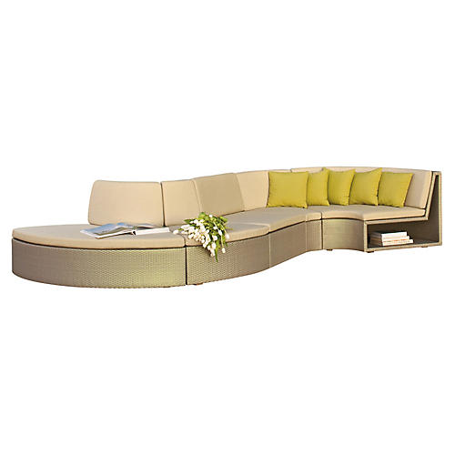 Asst. of 5 Open Curve Sectional, Beige