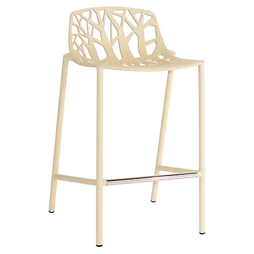 Forest Low-Back Counter Stool, Beige