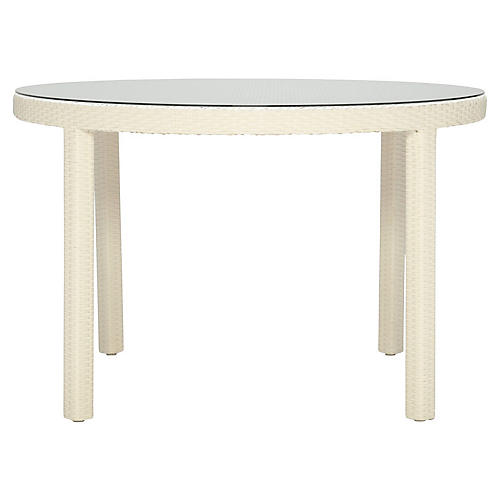 Outdoor Round Dining Table, Limestone/Clear