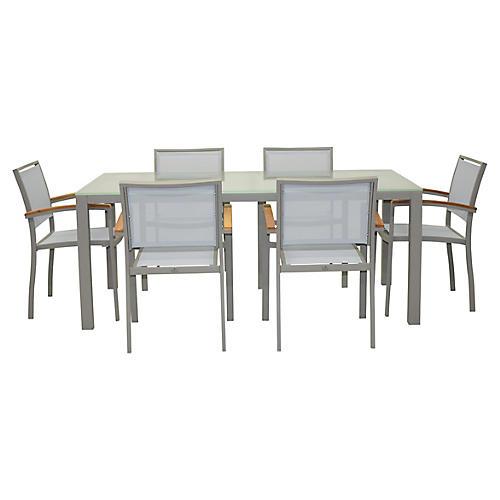 Koko Dining Set, Silver/Natural