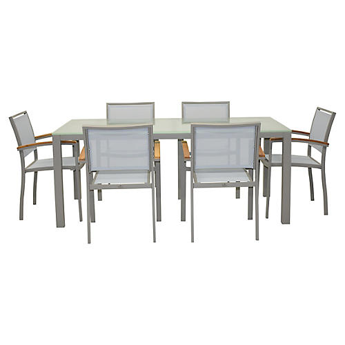 Koko Dining Set, Silver/Natural