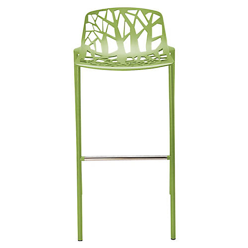 Forest Low-Back Barstool, Olive Green