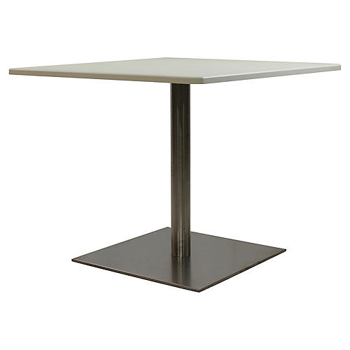 Quad III Square Dining Table, Gray/Ivory