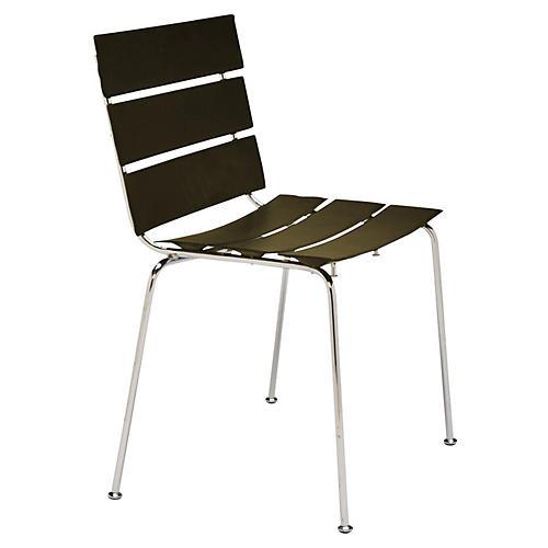 Lingo Side Chair, Silver/Espresso