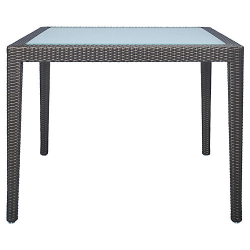 Glass-Top Square Dining Table, Bronze