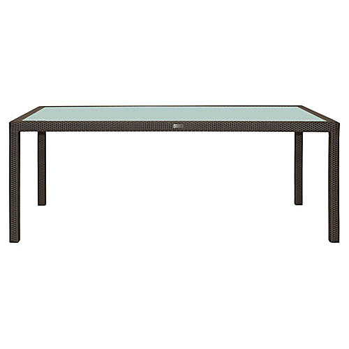 Glass-Top Rectangular Dining Table, Light Brown