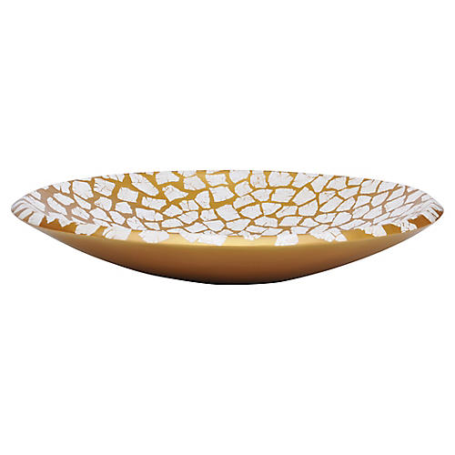 "23"" Gather Bowl, Gold/White"