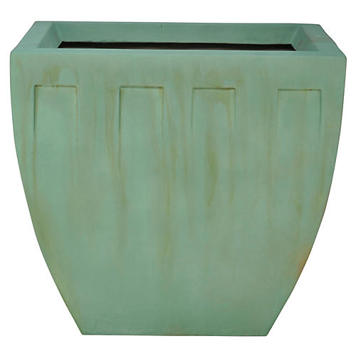"35"" Deco Large Planter, Seafoam/Aged Bronze"