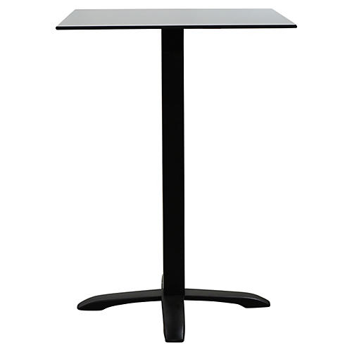 Easy Square Outdoor Bistro Table, Black/Gray