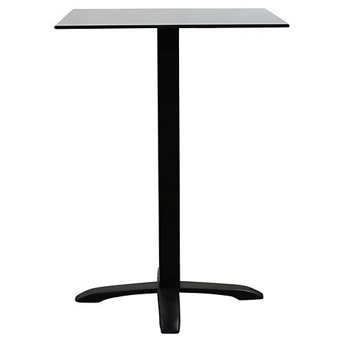Easy Square Outdoor Bistro Table, Black/Gray