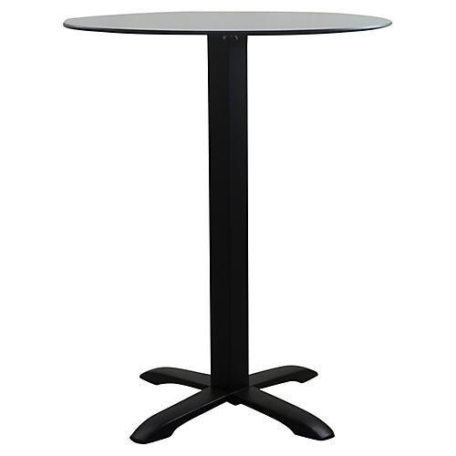 Easy Round Outdoor Dining Table, Black/Gray
