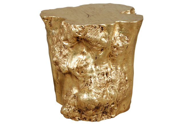 Log Side Table, Gold