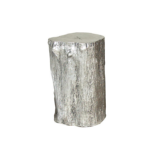 "Log 17"" Rustic Accent Table, Silver"