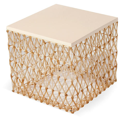 Weave Side Table, Cream