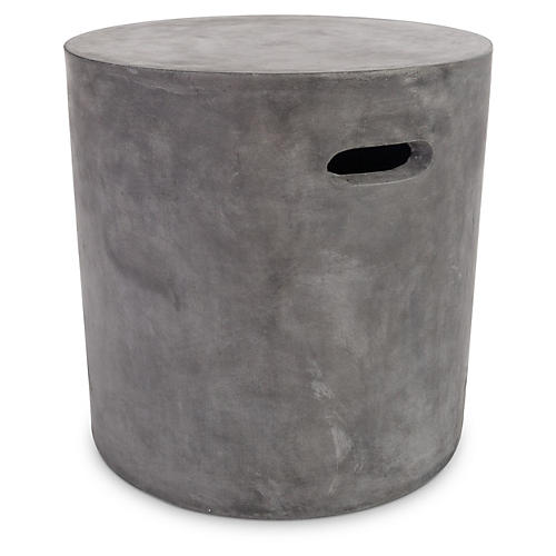 Round Outdoor Clay Stool, Gray