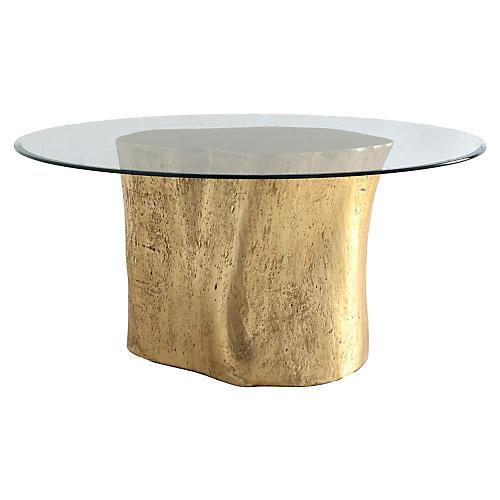 """Log 36"""" Dining Table, Gold Leaf"""