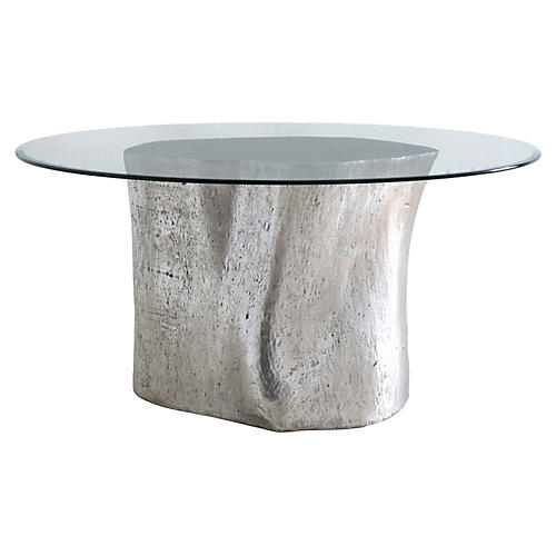 "Log 36"" Dining Table, Silver Leaf"