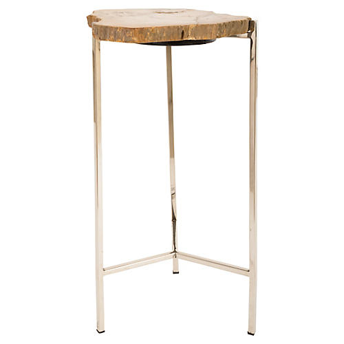 Petrified Wood Side Table, Natural