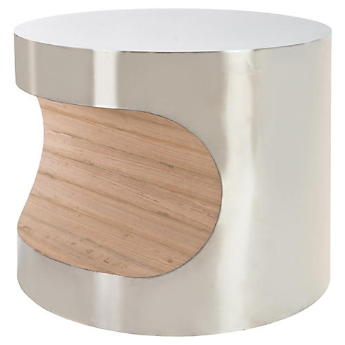 "24"" Bite Side Table, Silver"