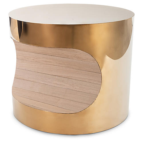 "24"" Bite Side Table, Brass"