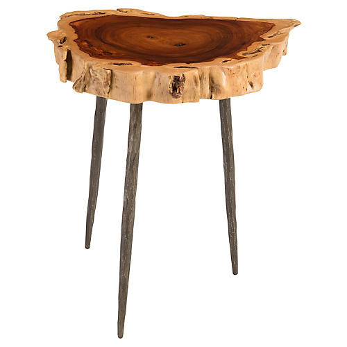 Makha Burl-Wood Side Table, Natural