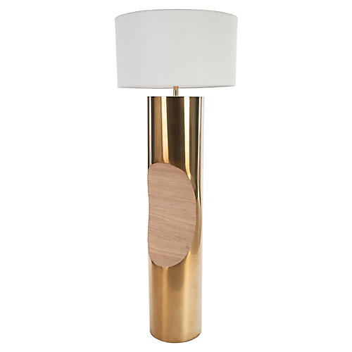 Bite Floor Lamp, Polished Brass/Natural