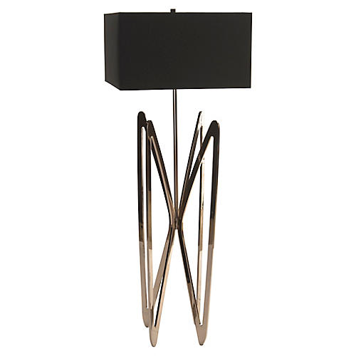 Butterfly Floor Lamp, Polished Nickel/Black