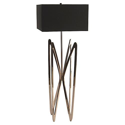 Butterfly Floor Lamp, Polished Nickel/Black