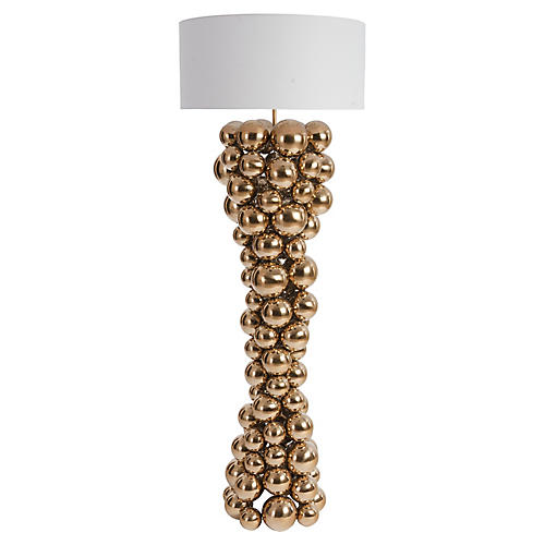 Frizzante Floor Lamp, Polished Brass