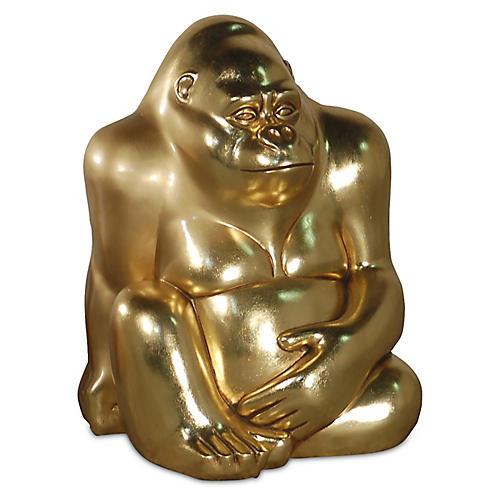 "17"" Sitting Gorilla Figure, Gold"
