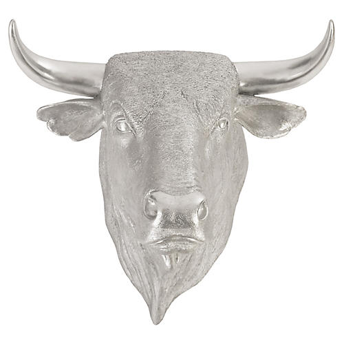 "30"" Spanish Faux-Bull Head Wall Accent, Silver"