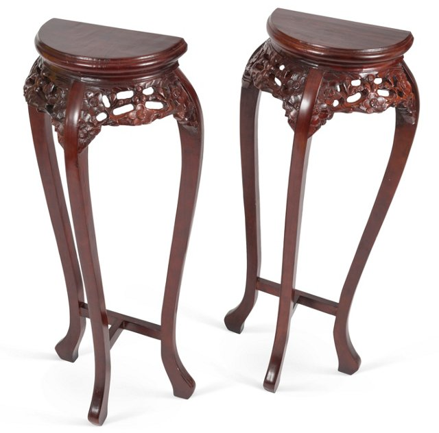 Chinese Pedestal Tables, Pair
