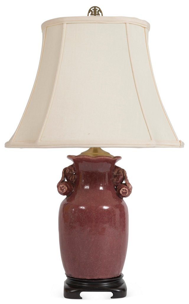 Cranberry Chinese Urn Lamp