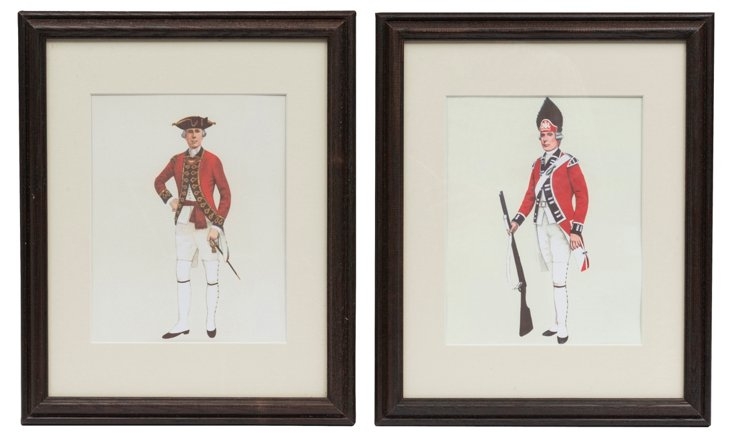 English Soldier Prints, Pair II