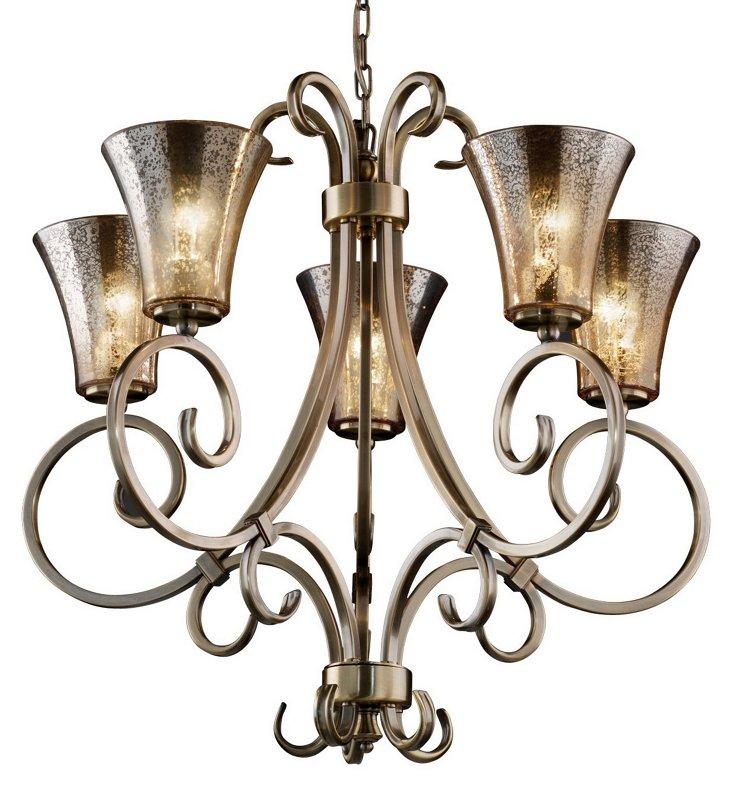 Victoria 5-Light Chandelier, Brass