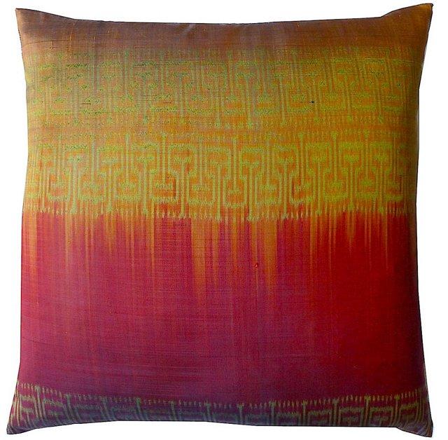Casey 18x18 Silk Pillow, Red