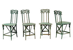 Art Nouveau Side Chairs, Set of 4