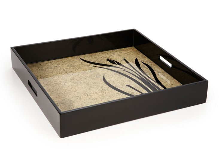 20x20 Lacquer Ottoman Tray, Bloom