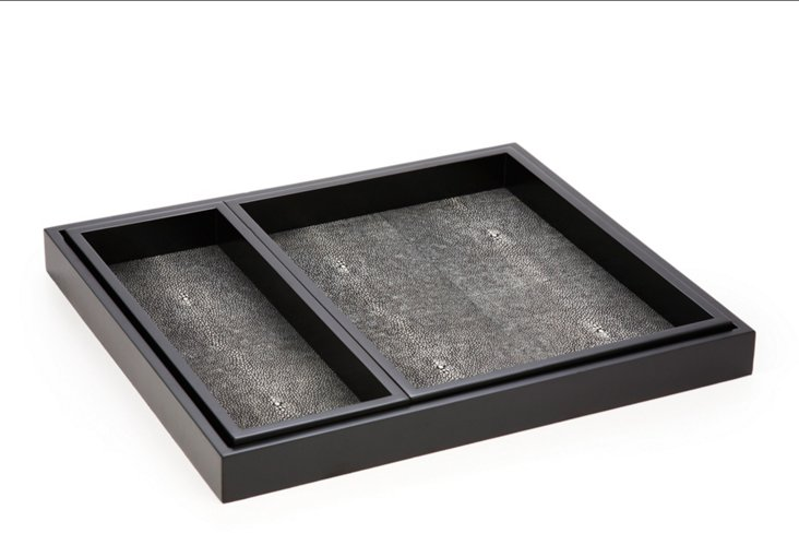 S/3 Lacquer Shagreen Trays