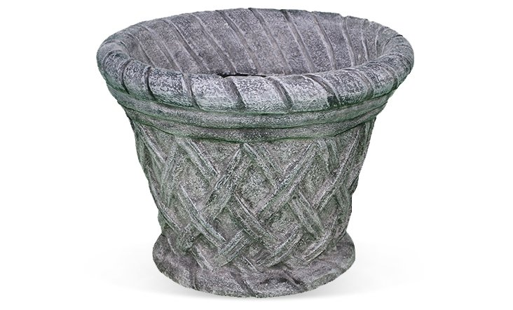 "19"" Basketweave Planter, Charcoal"