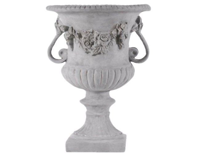 "24"" Rose Urn with Handles, Gray"
