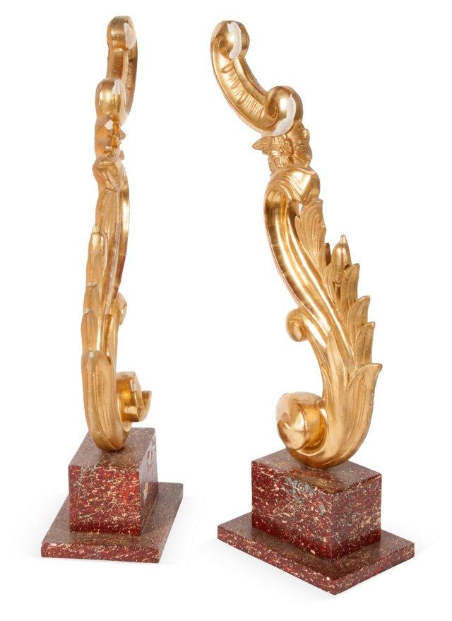 Italian Gilded Carvings, Pair