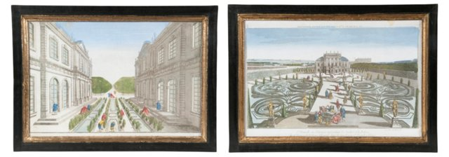 Antique Framed Illustrations, Set of 2