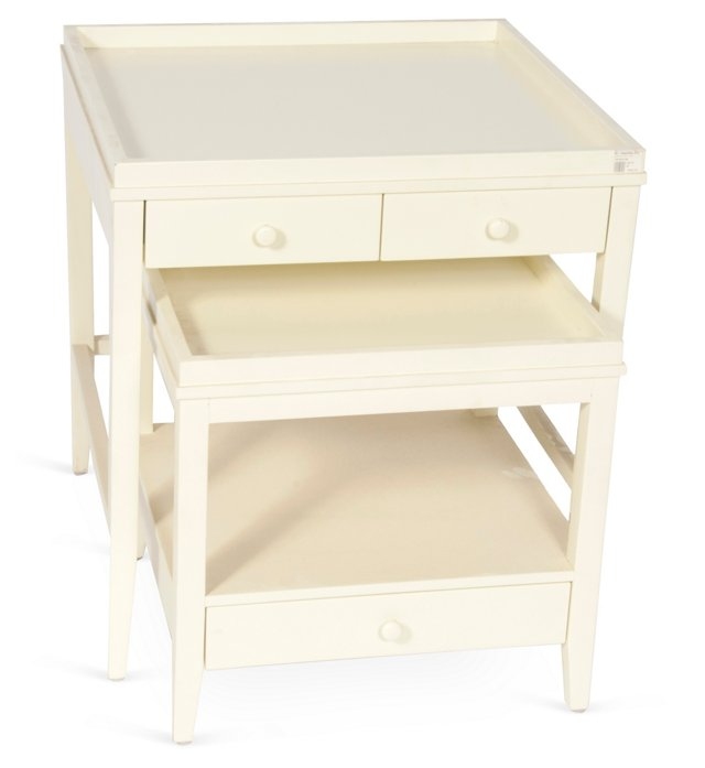 White Stacking Tables, Set of 2