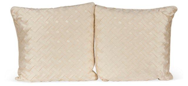 Silk Pillows w/ Woven Pattern, Pair