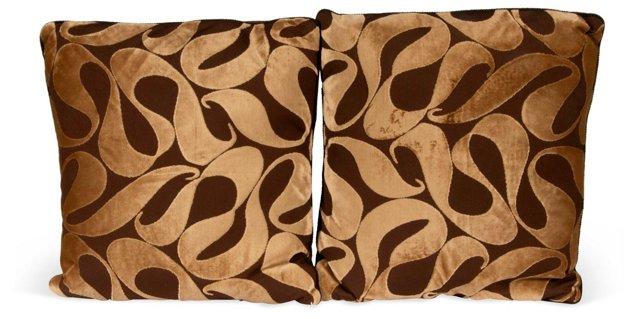 Cut Velvet Brown Swirl Pillows, Pair