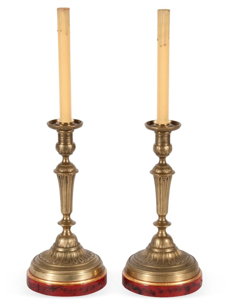 Candlestick Lamps, Pair