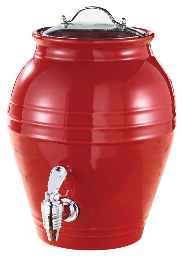 Honey Pot Beverage Dispenser, Red