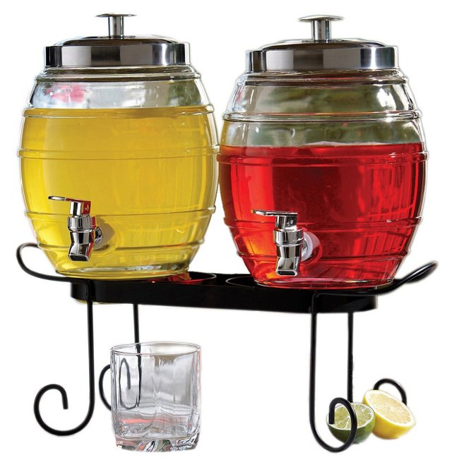 3-Pc Pub Beverage Dispenser Set w/ Stand
